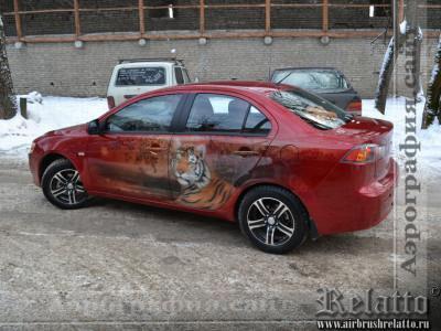 аэрография автомобилей тигр Краснодар