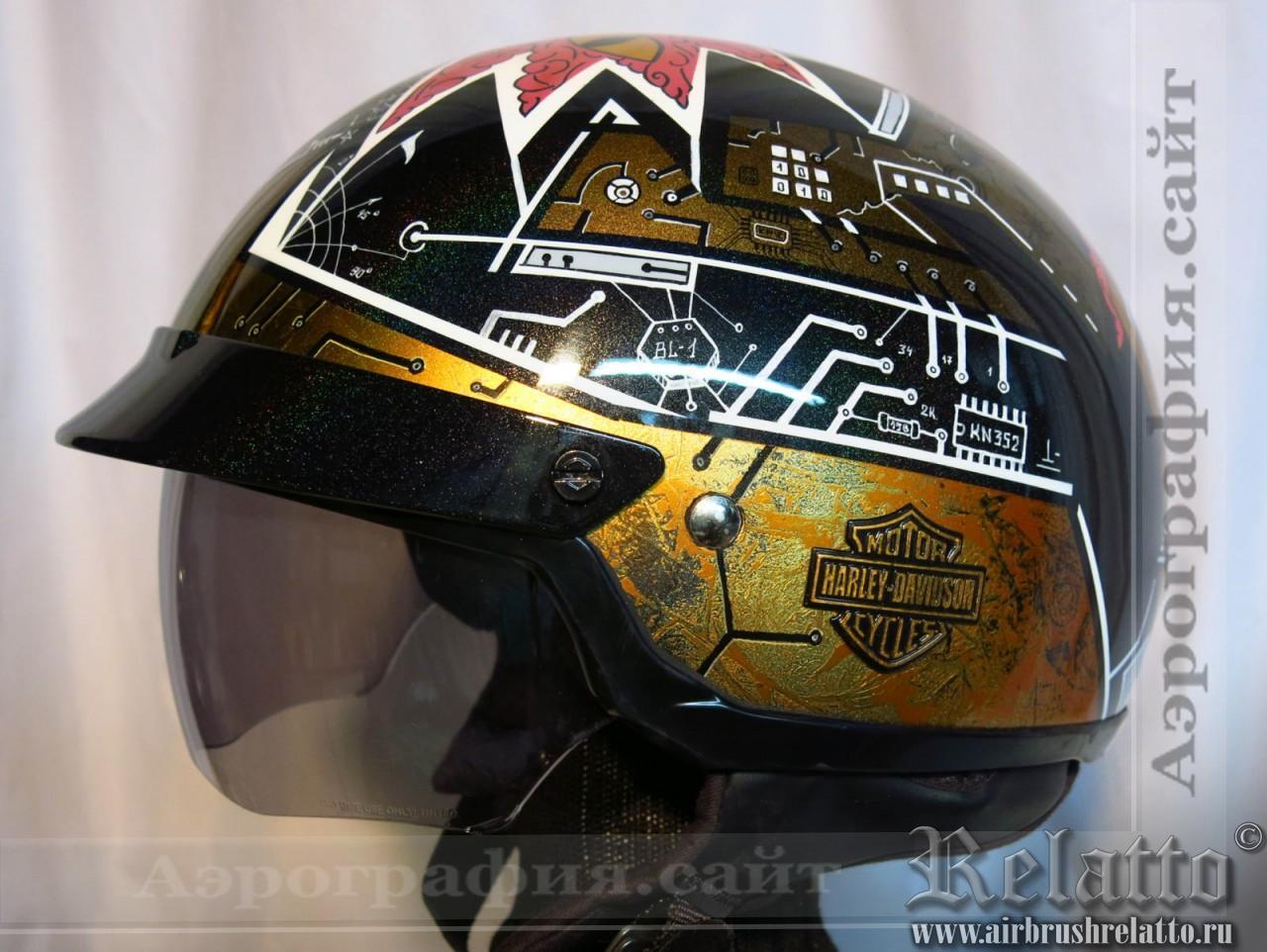 аэрография на шлеме Харлей Дэвидсон Москва