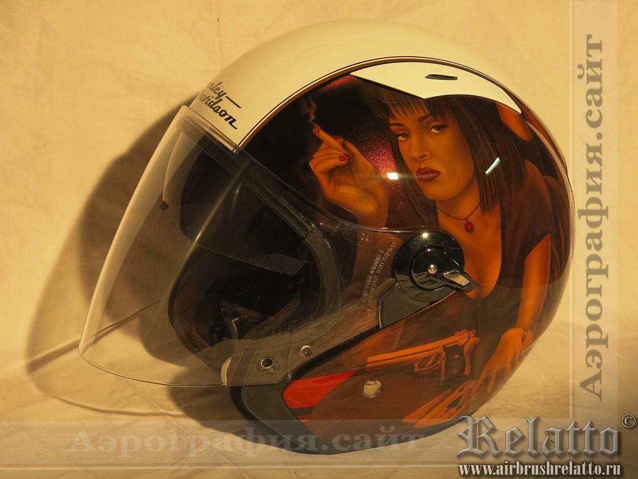 аэрография на шлеме Harley Davidson фото