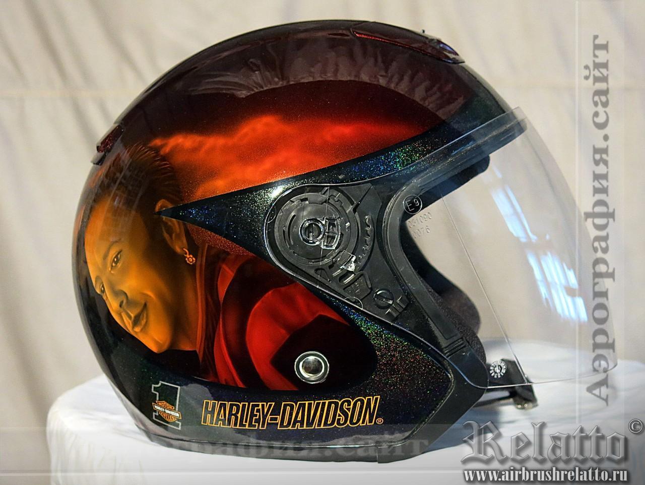 Шлем с аэрографией Харлей Девидсон