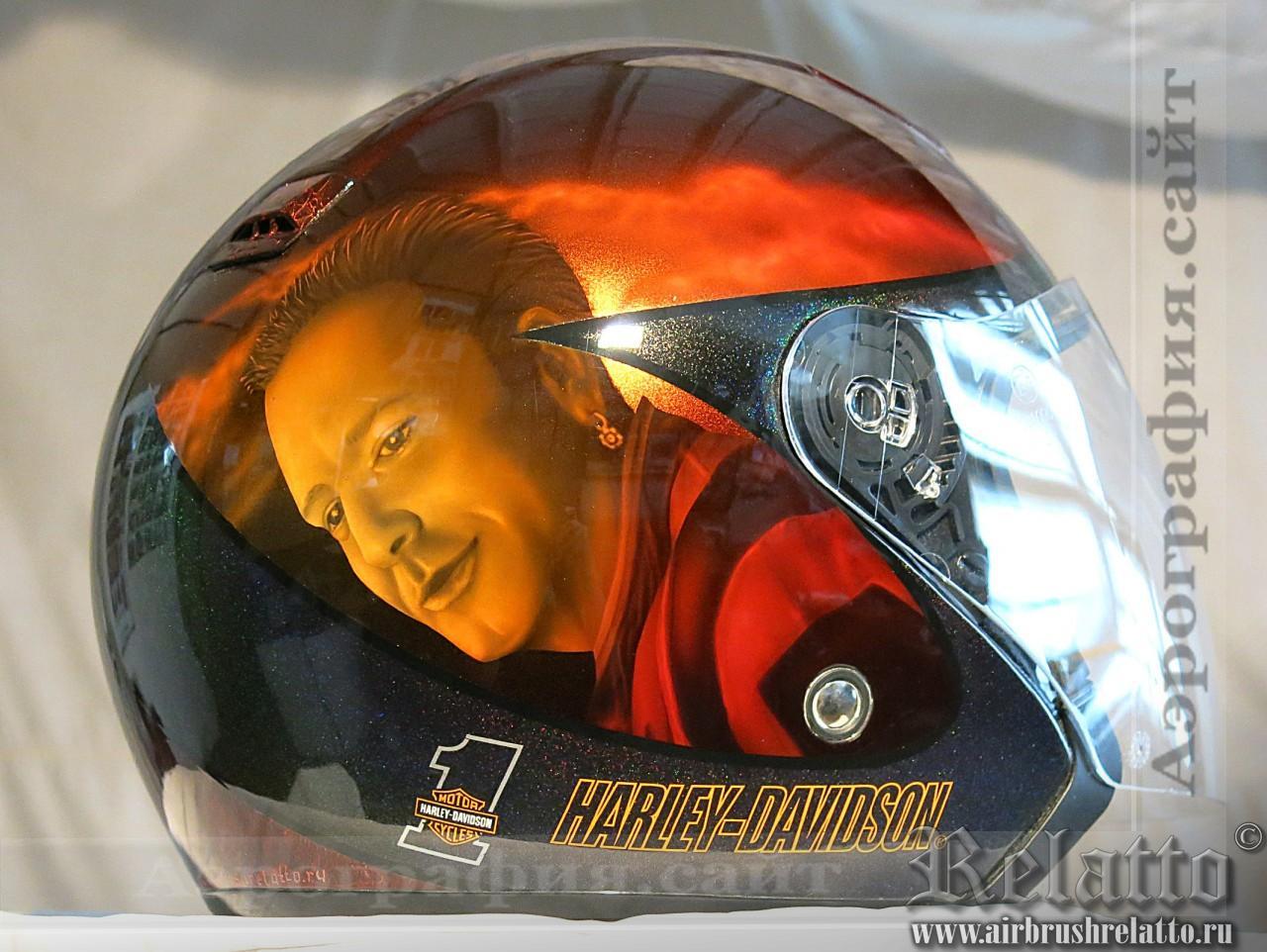 Аэрография на мотошлеме Harley Davidson