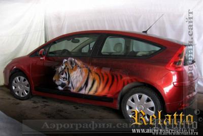 Аэрография авто тигр Краснодар