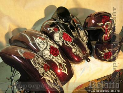 Harley Davidson с аэрографией цветы Краснодар
