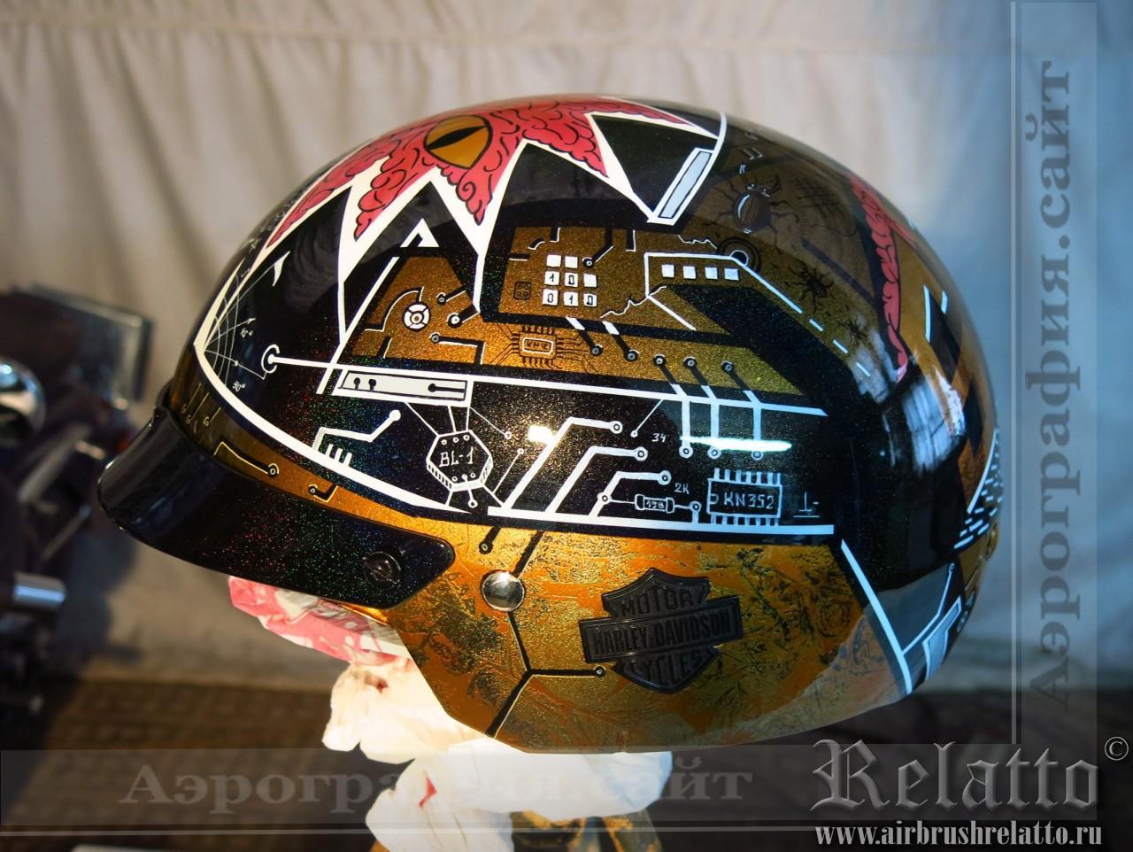 аэрография на шлеме Harley Davidson Москва