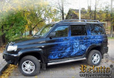 аэрография на автомобиле УАЗ Патриот
