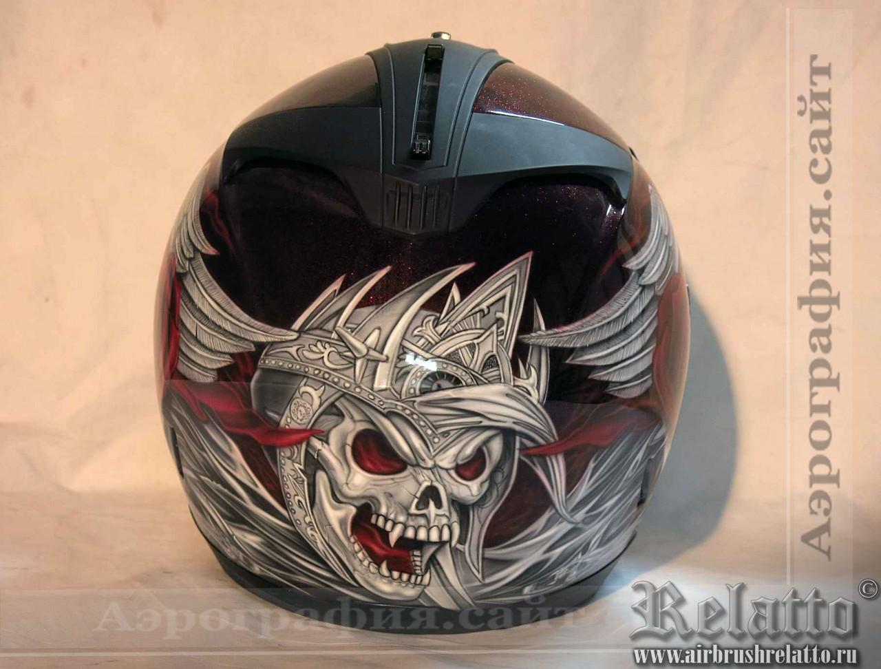аэрография на шлем череп