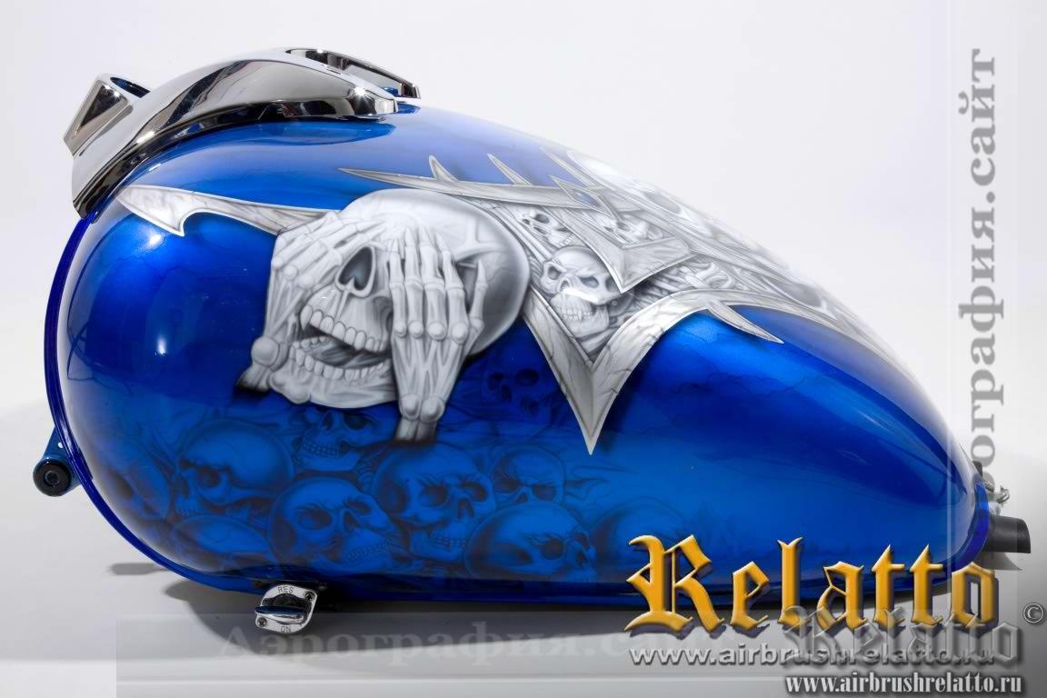 Аэрография на баке Yamaha Roalstar черепа