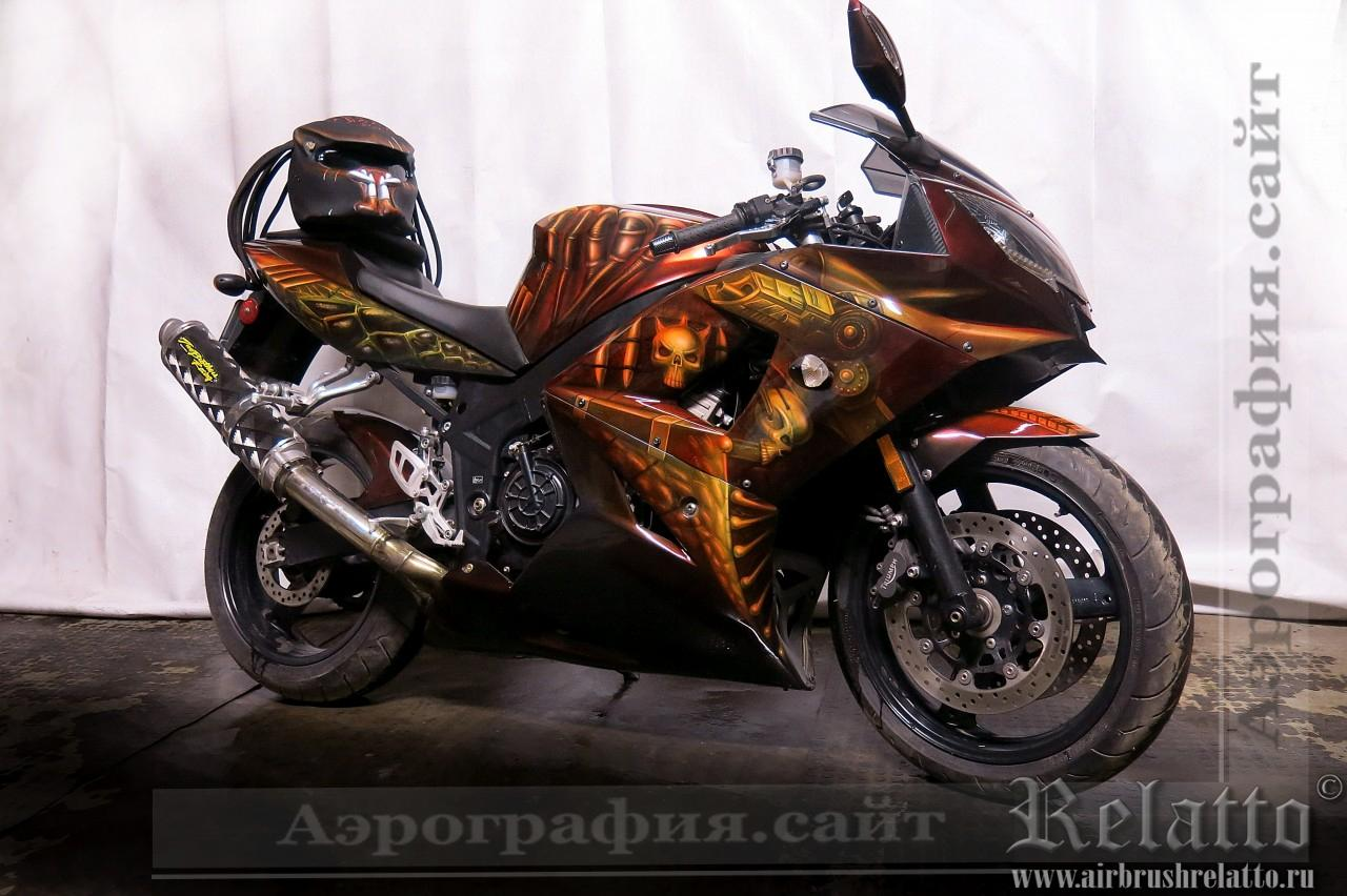 аэрография мотоцикла Triumph Хищник Predator airbrush