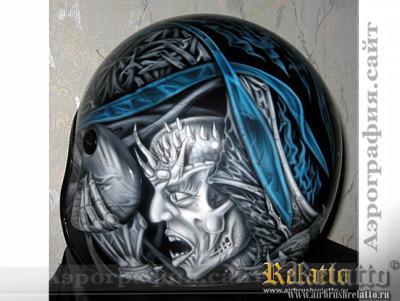 Аэрография шлема с драконом Краснодар