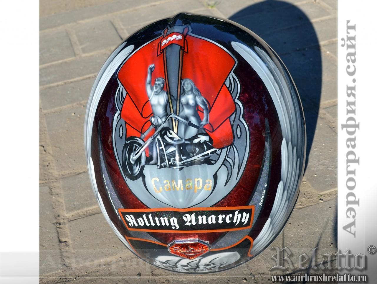 Аэрография на шлемах мотоциклистов Роллинг Анархии Самара