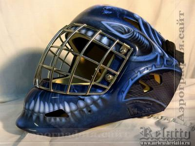 Аэрография вратарского хоккейного шлема Краснодар