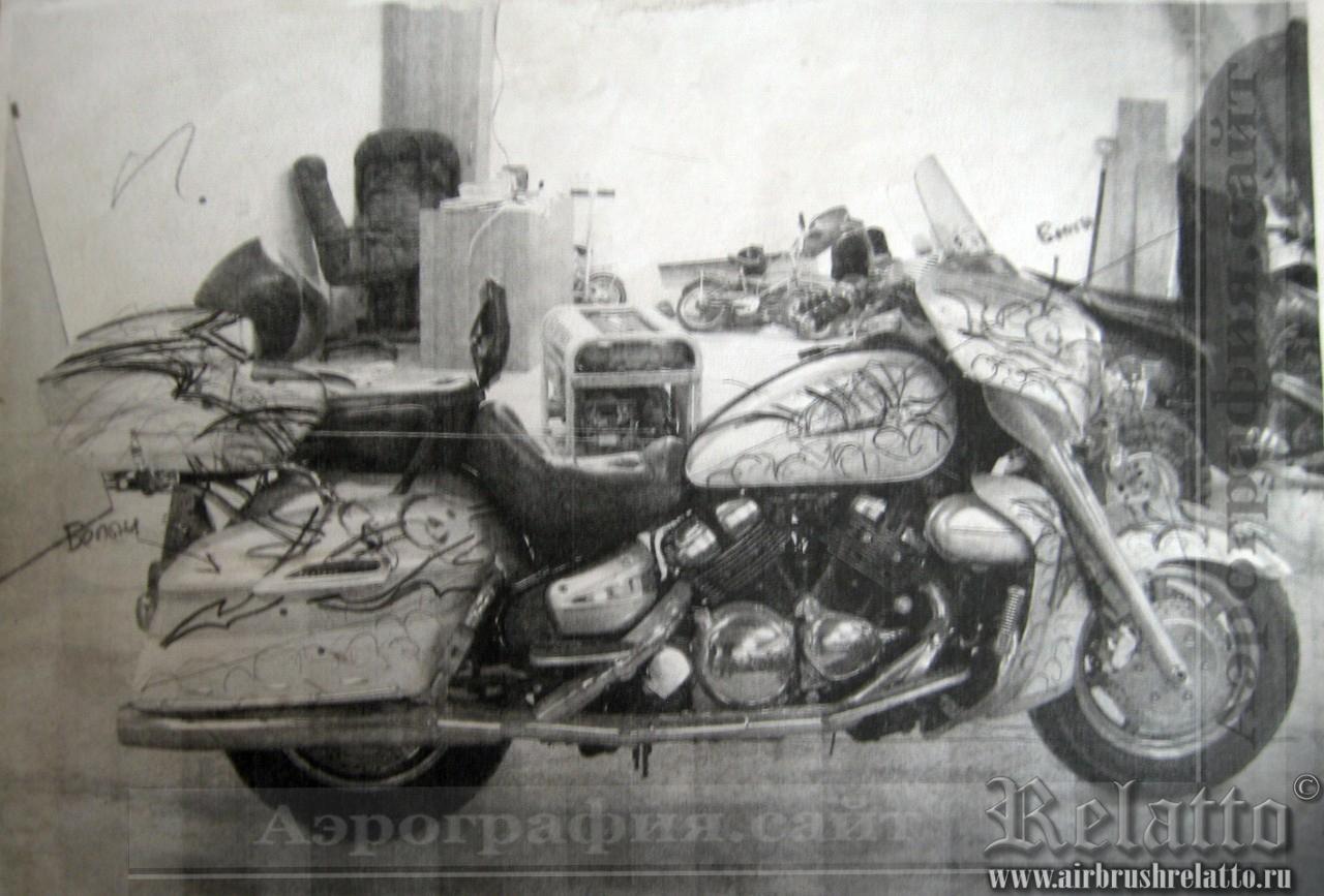 эскиз к аэрографии на мотоцикл