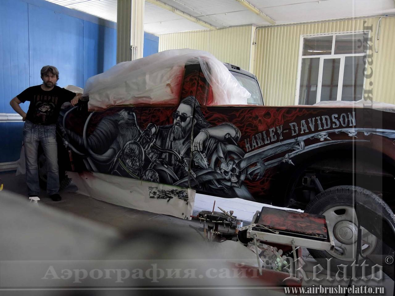 аэрография автомобилей harley davidson художник в Белгороде