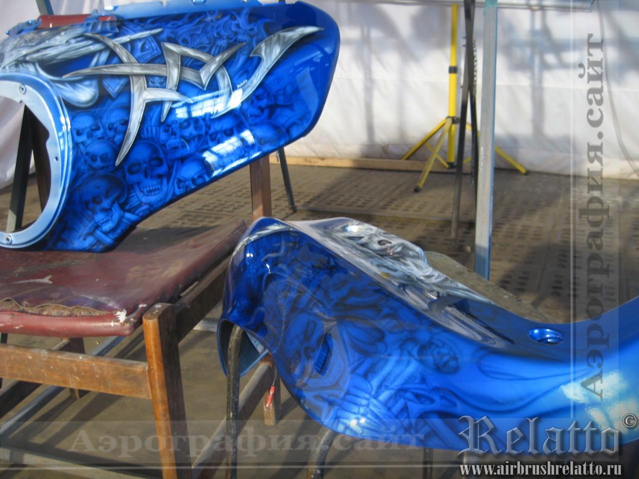 Ямаха 'Blue Восстановление  аэрографии мотоцикла