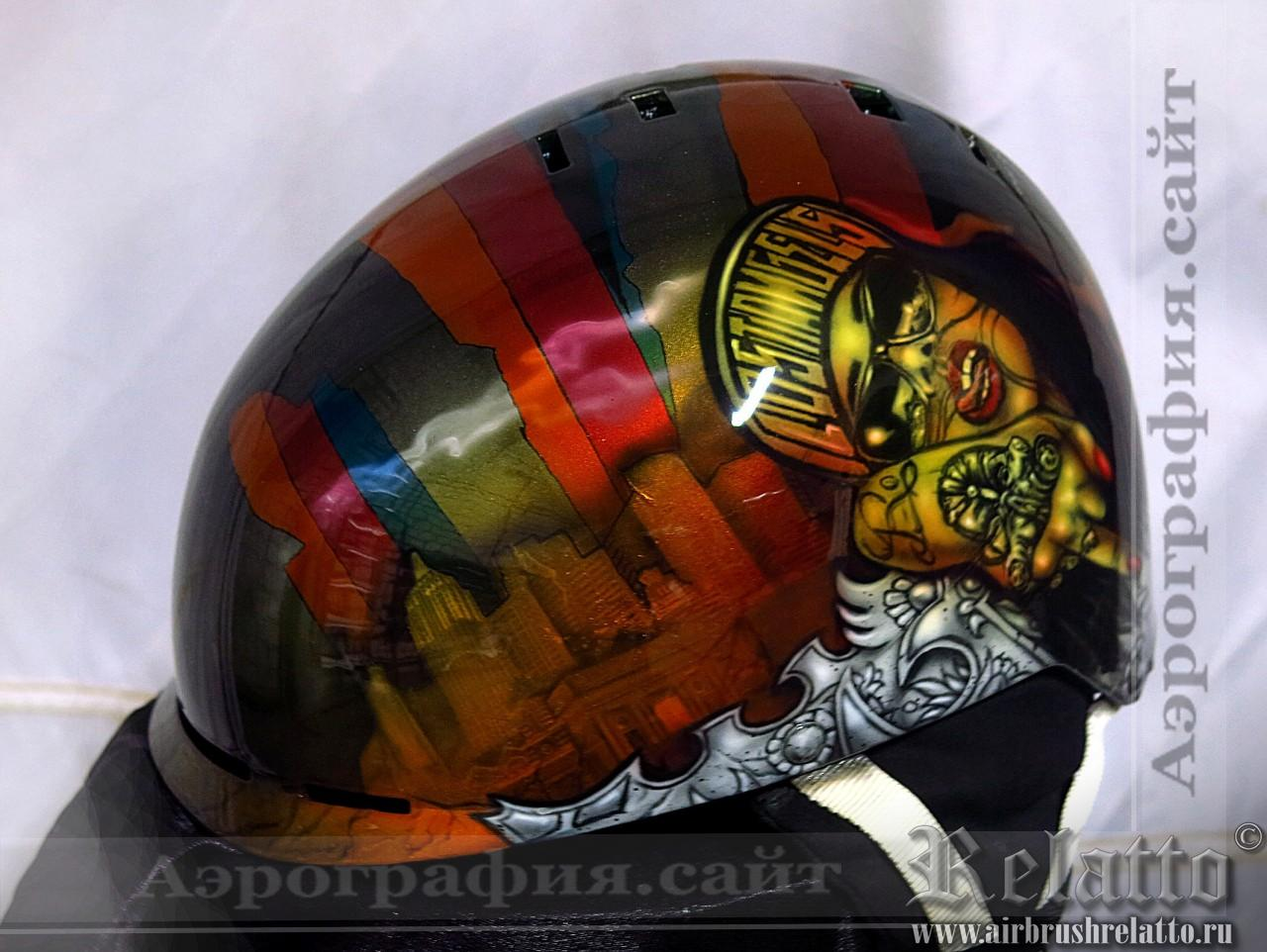 Airbrush snowbord helmet