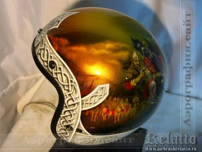 Аэрография шлема Сustom - Богатыри Краснодар