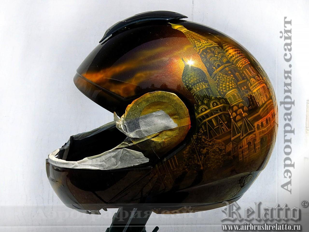 Аэрография на шлеме Собор Василия Блаженного