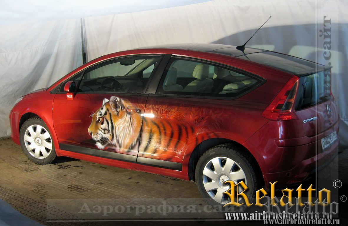 Аэрография Citroen тигры - airbrushing