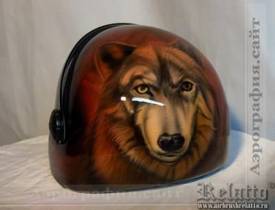 аэрография на парашютном шлеме - волк