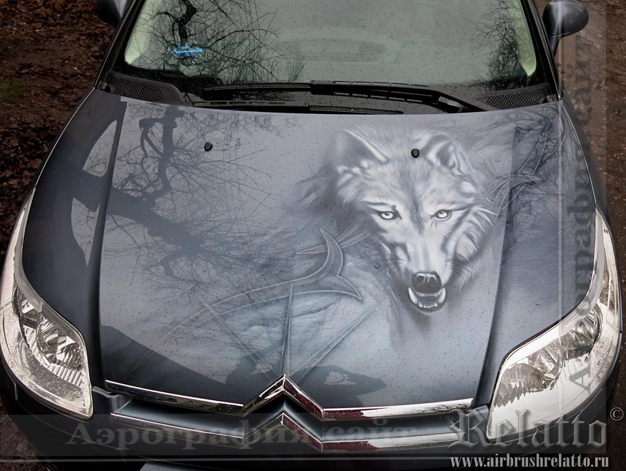 Аэрография автомобиля Citroen - Волк