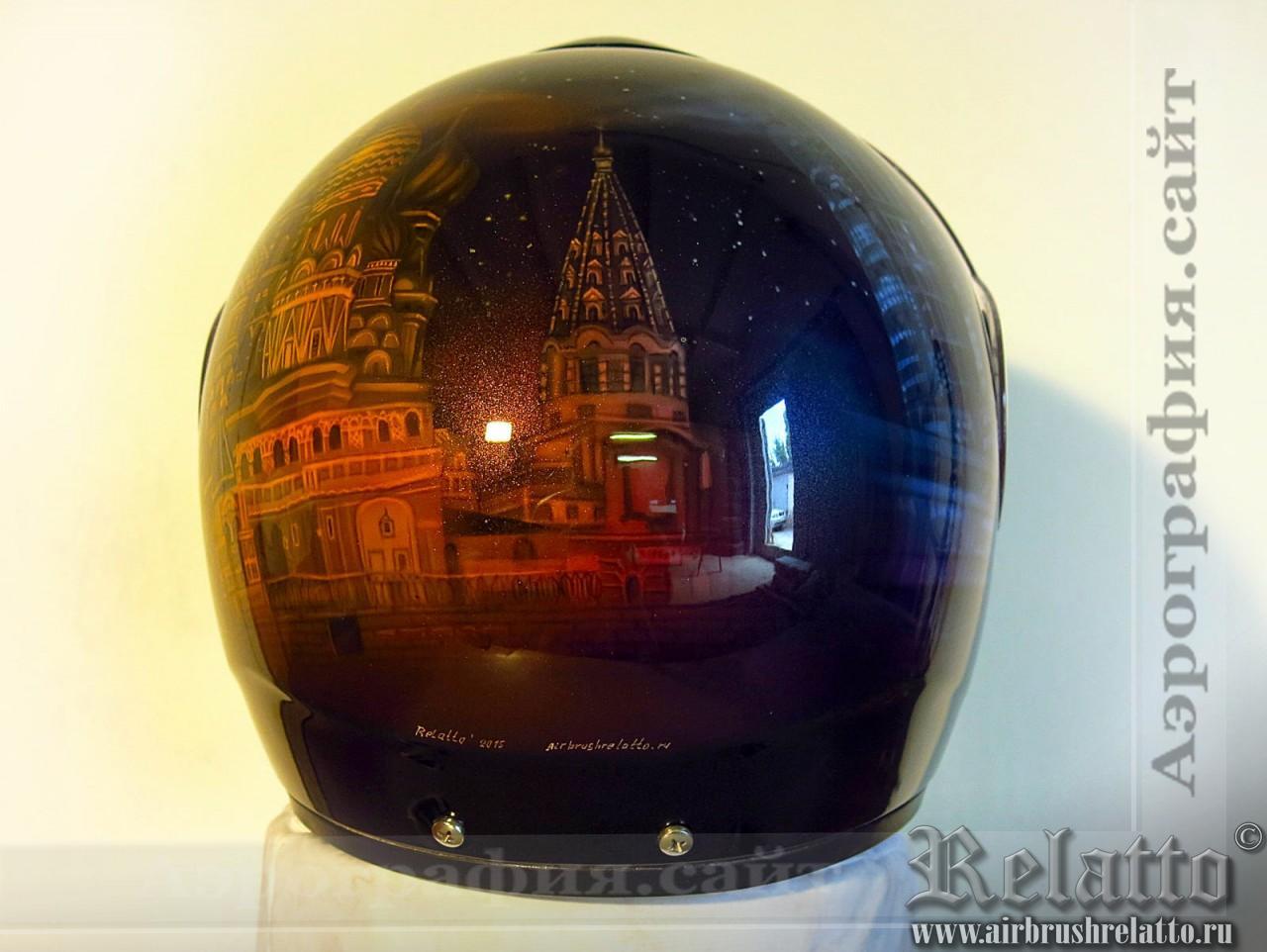 Роспись шлема Москва Сити и Собор Василия Блаженного