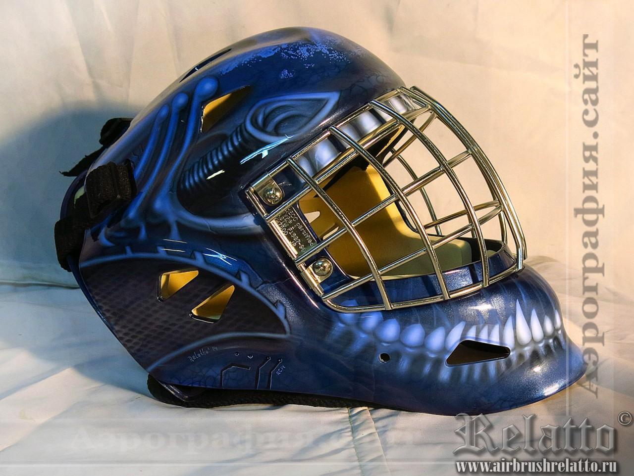Аэрография шлема вратаря хоккейной команды