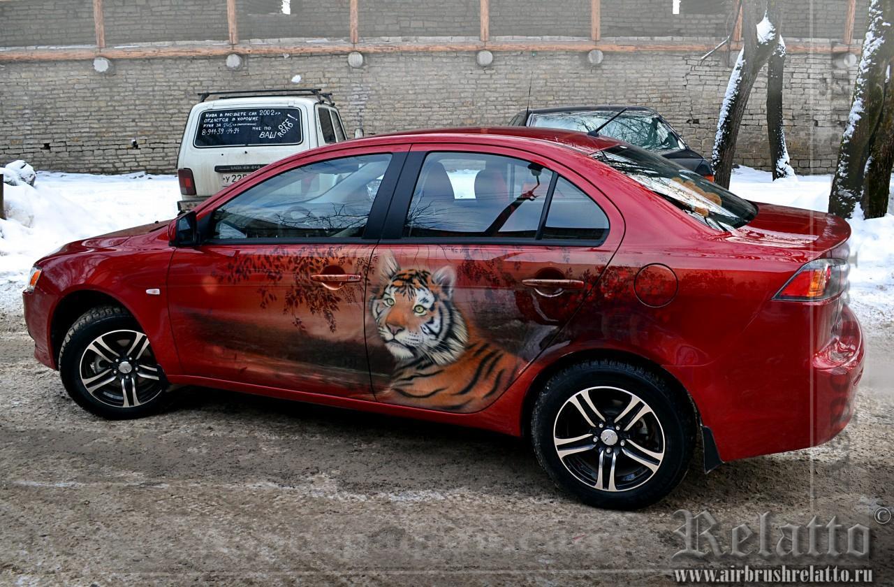 аэрография авто тигр