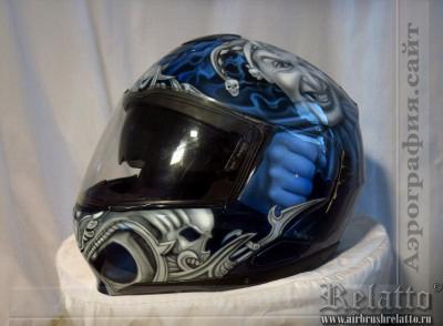 Аэрография на мото шлем