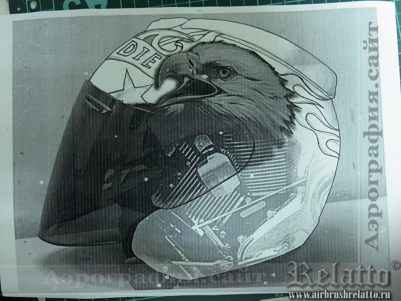 Аэрография шлема Arai эскиз