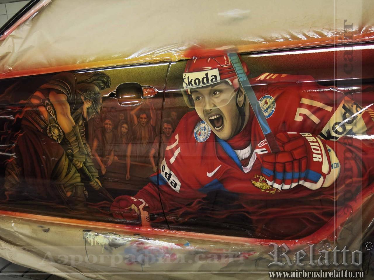 аэрография на автомобиле хоккей СКА Питер в Белгороде