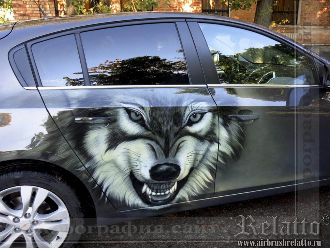Аэрография на Chevrolet Cruze Волк