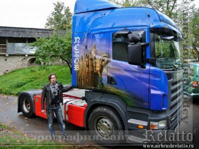 Рисунок на кабине фуры Scania Краснодар