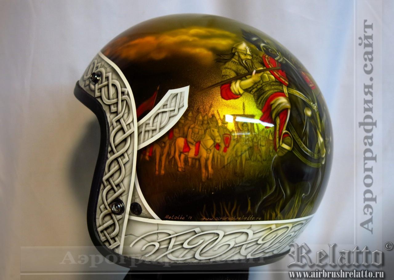 Аэрография на Сustom-шлеме - Богатыри