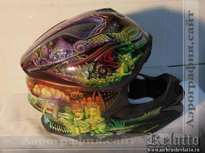 Разрисовка кроссового шлема Relatto