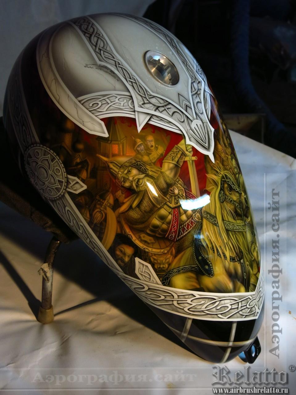 Аэрография Harley Davidson Custom - богатыри