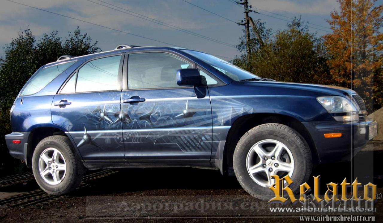 Аэрография авто абстракция  на Lexus