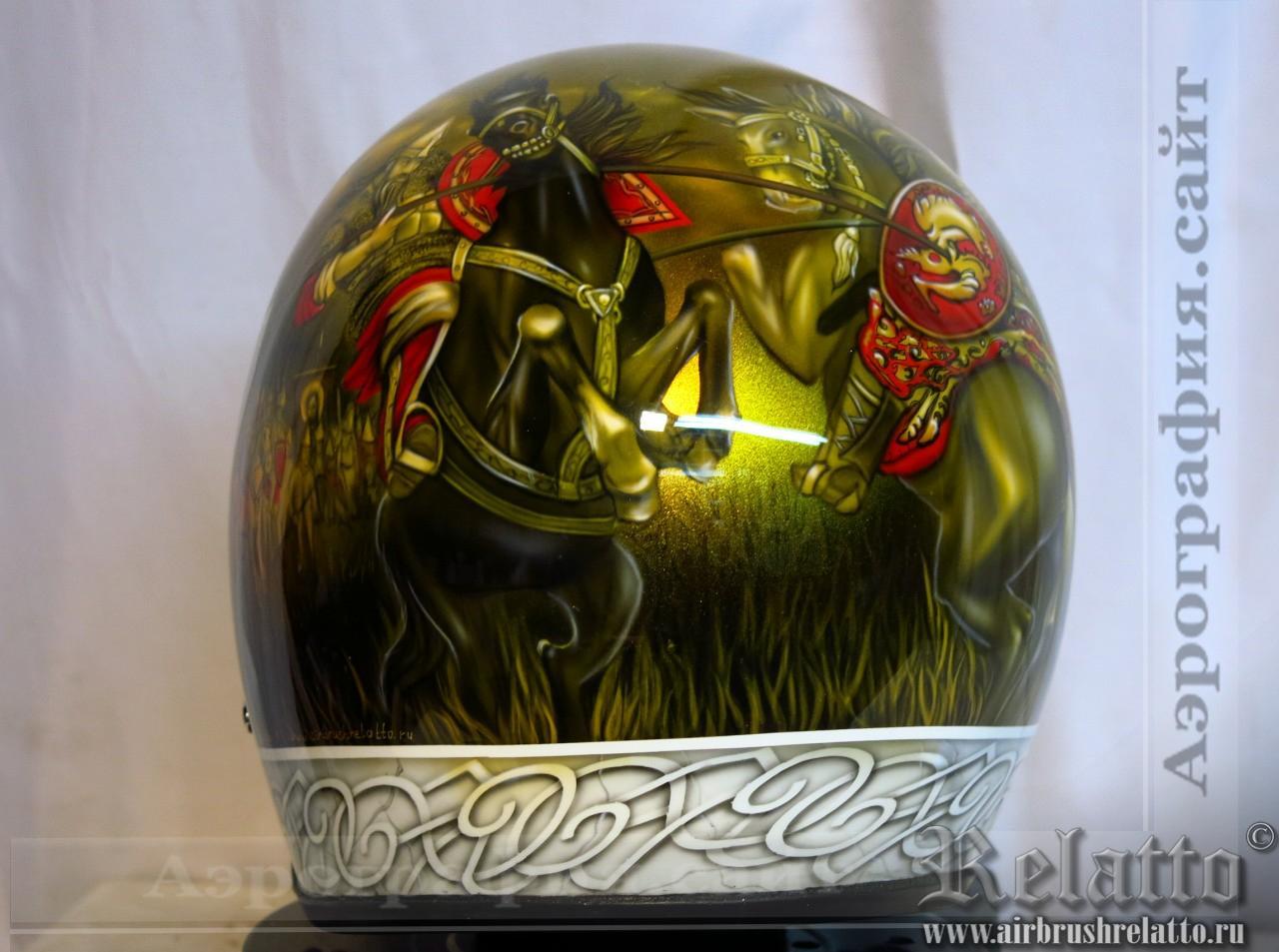Аэрография на шлеме к Kustom - Богатыри