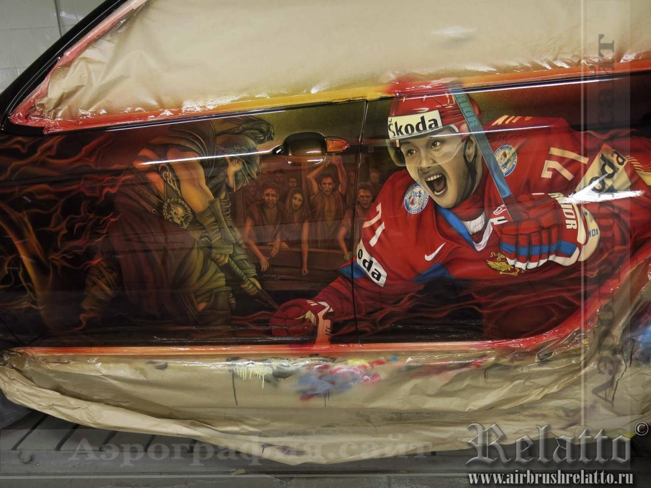 аэрография на автомобиле хоккей Илья Ковальчук в Белгороде