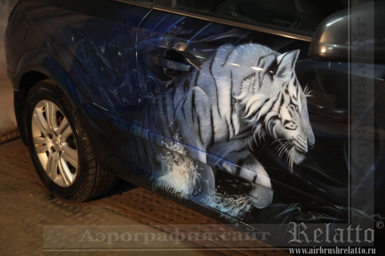 Тигр на автомобиле