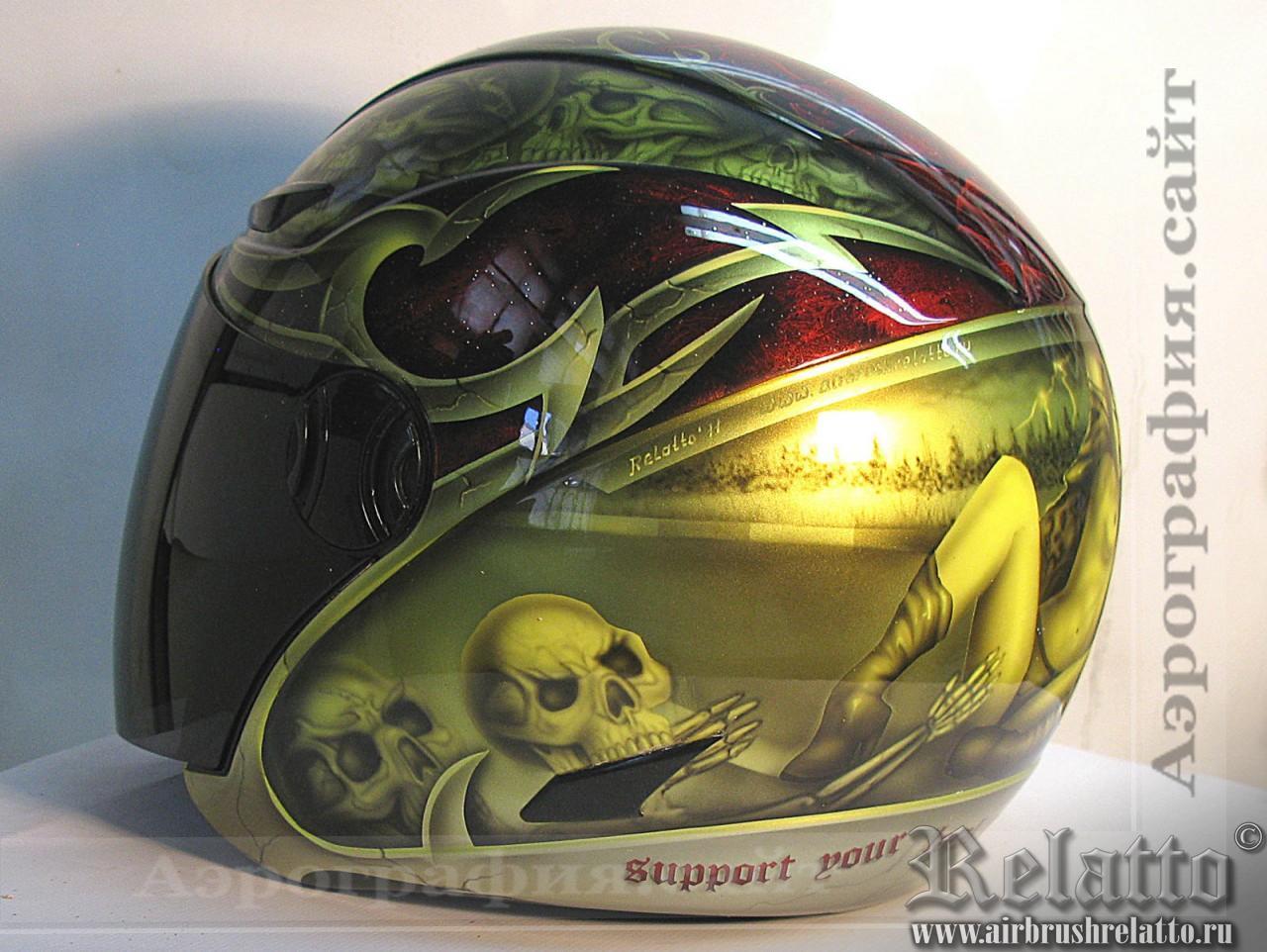 аэрография шлема для байкера