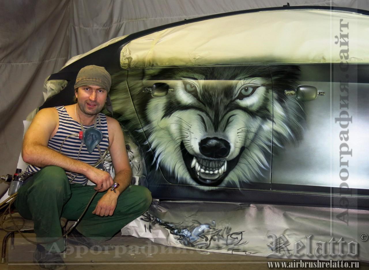 Аэрография авто Волк