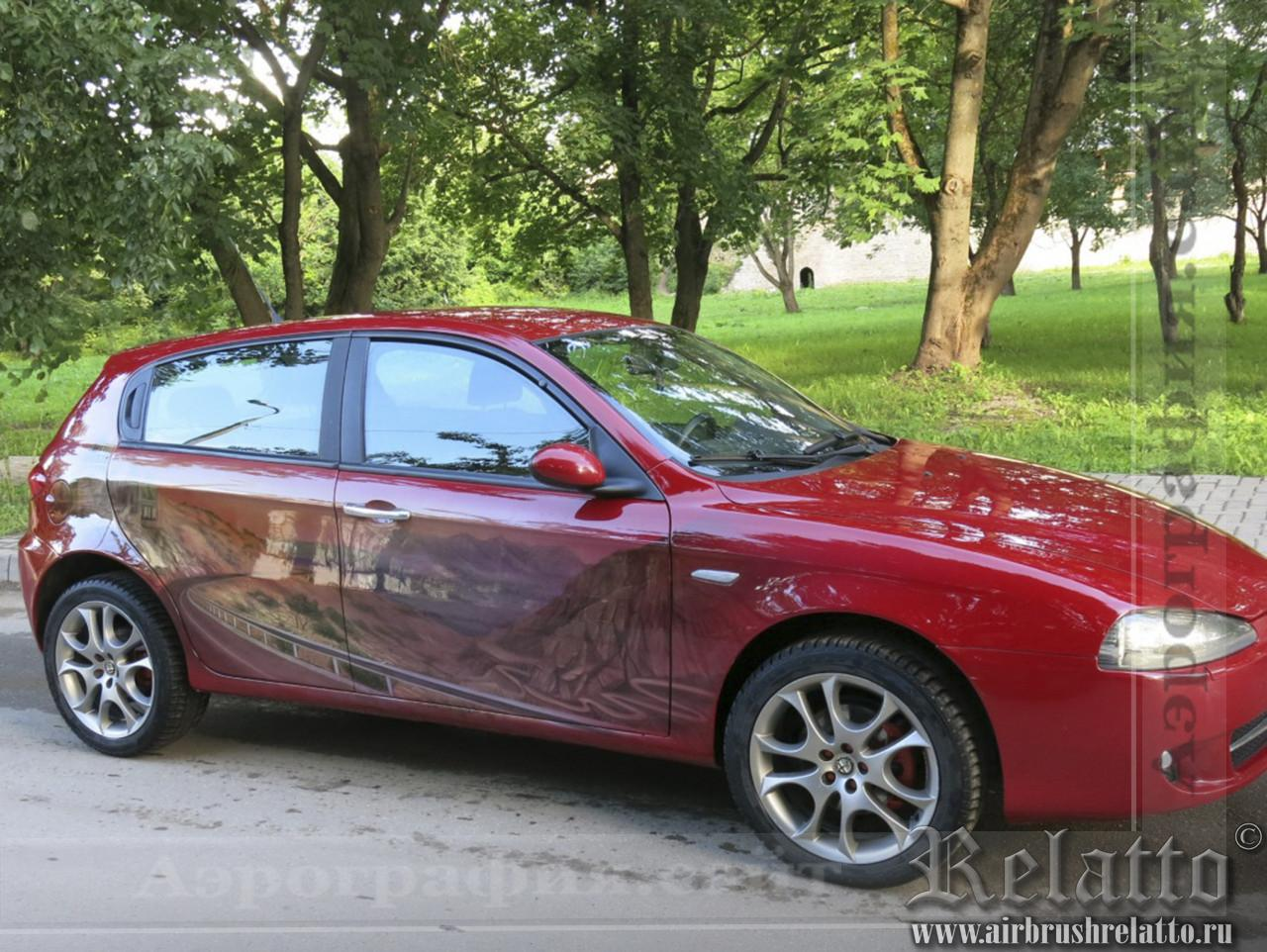 Аэрография на автомобиле Альфа Ромео