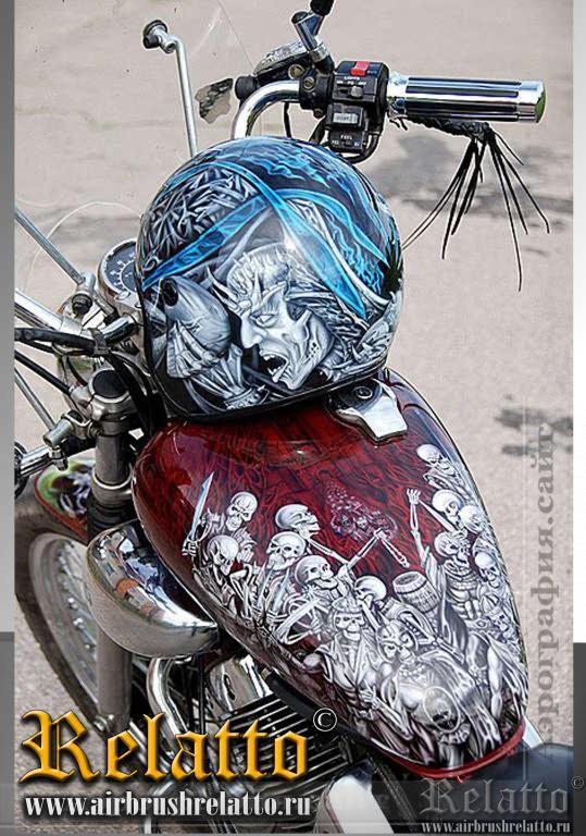 Аэрография мотоцикла и шлема