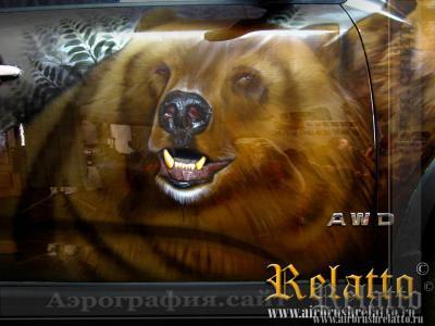 Рисунок на машине Медведи Краснодар